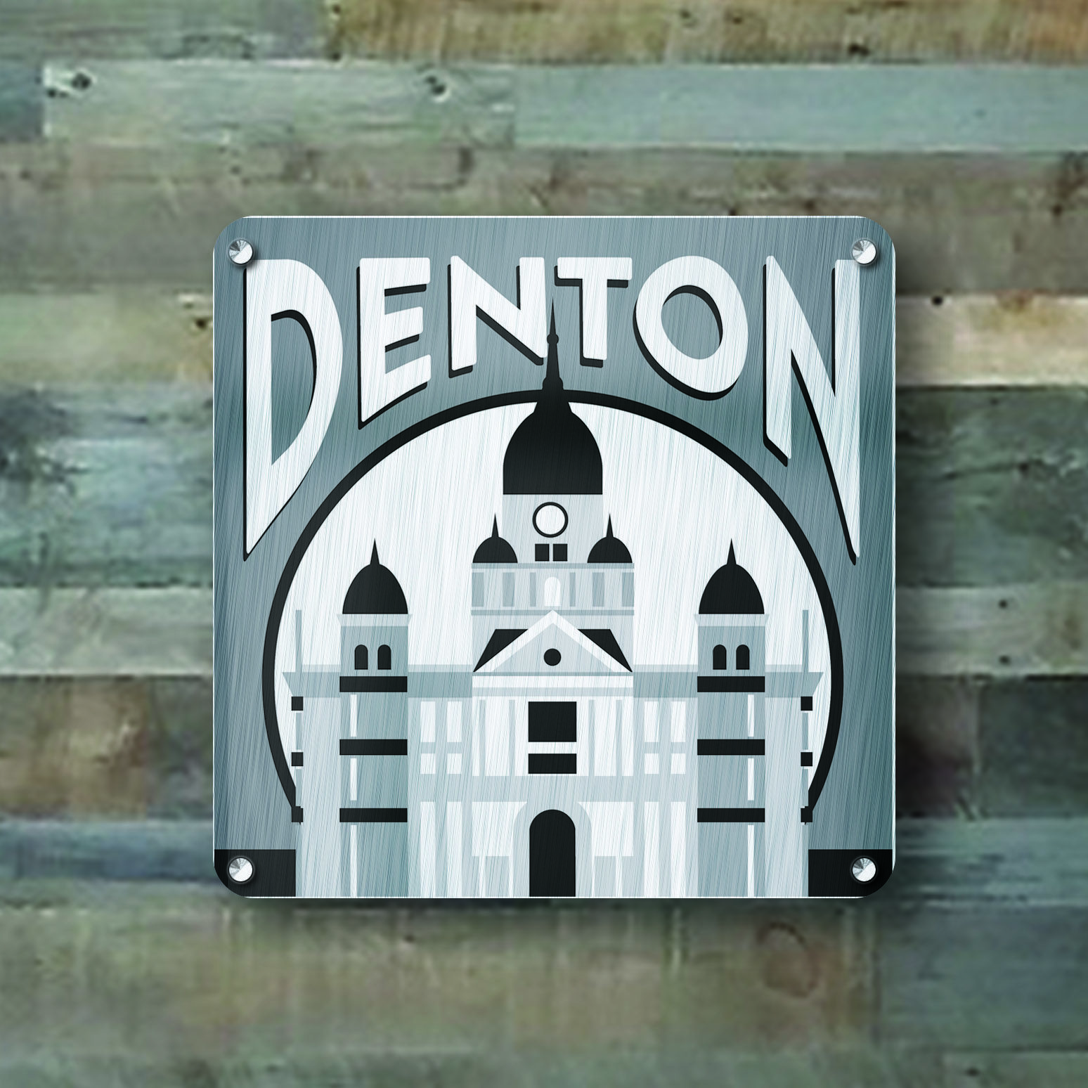 """Display your hometown pride with this 16x16 Brushed Aluminum Wall hanging, featuring the Denton, TX Courthouse.   Mounts using (4) 5/16"""" Steel standoff pegs."""